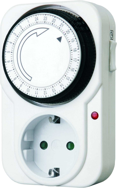 Smartwares 10.047.46 Enchufe con temporizador analógico programable TM106 para uso en interior, fácil de usar y compatible con lámparas halógenas