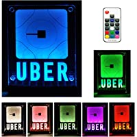 Uber Sign,LED Logo Light,Decal Glow Accessories,Wireless Control,Remote Intelligent Control 16 Glowing Colors 4 Control Modes, Uber Lyft Sign Light Up Sticker for Car,30M Wide Signal Coverage
