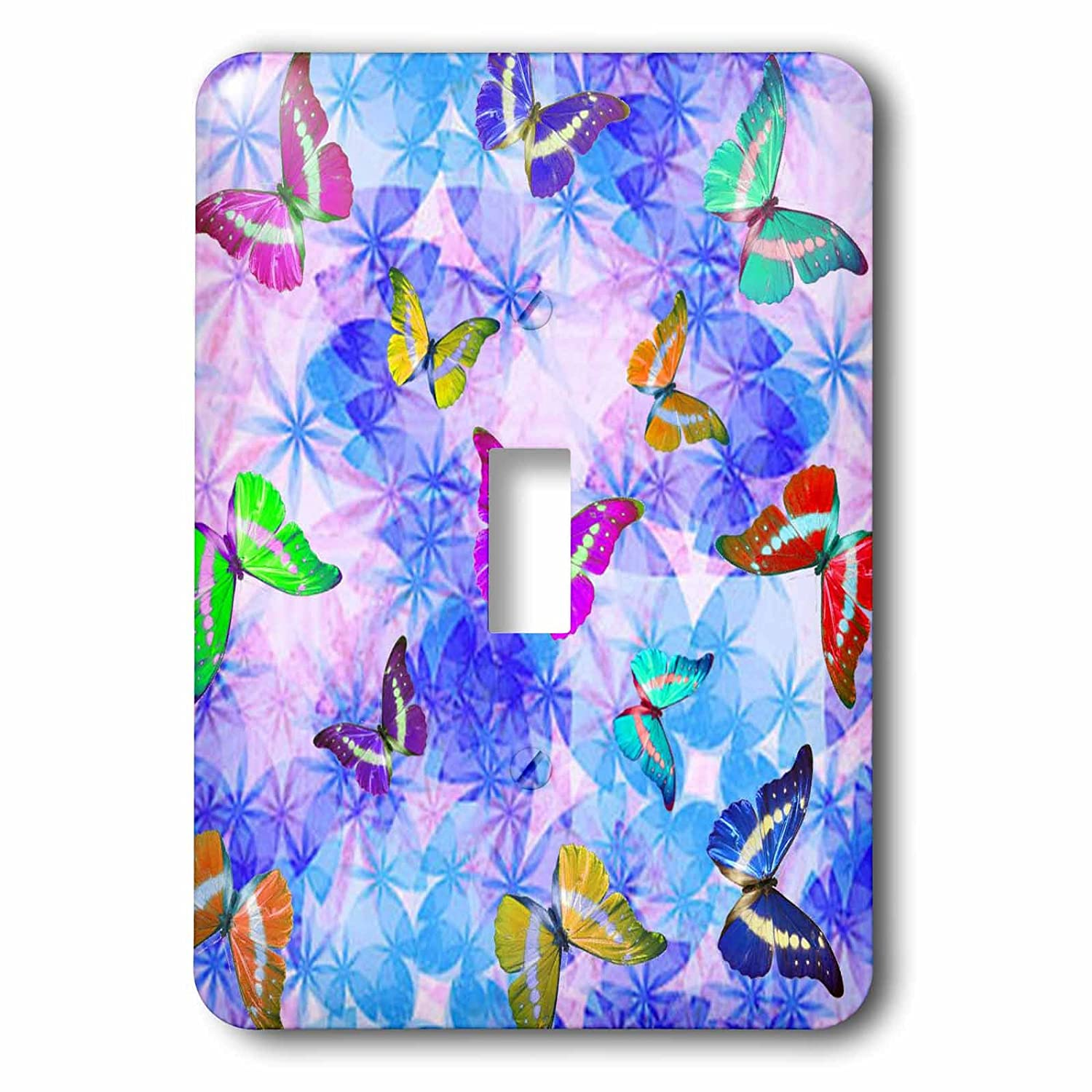 3dRose lsp/_63063/_1 Cosmic Dust Sparkles and Butterflies Pattern Single Toggle Switch