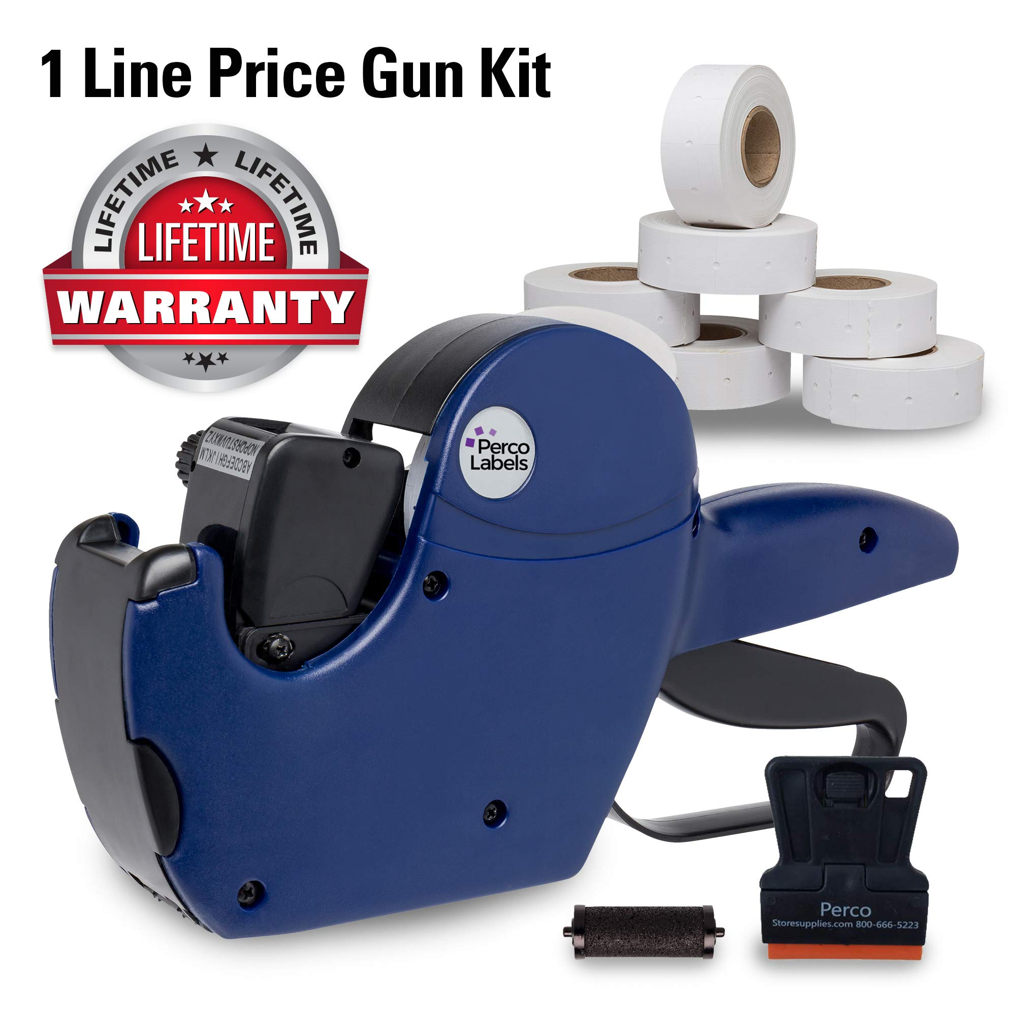 Perco 1 Line Price Gun with Labels Kit - Includes 1 Line Pricing Gun, 10,000 White Labels, with Pre-Loaded Inker by Perco
