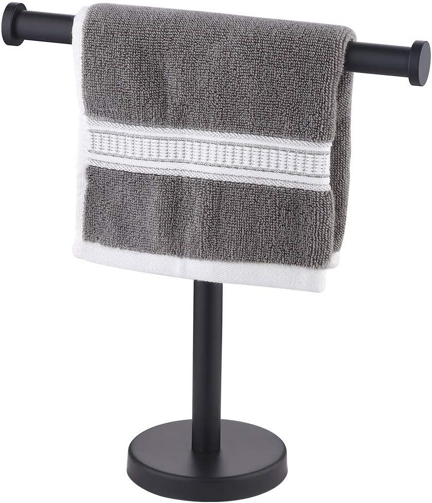 KES Towel Rack T-Shape Hand Towel Holder Stand SUS304 Stainless Steel for Bathroom Vanity Countertop Matte Black, BTH208S10-BK
