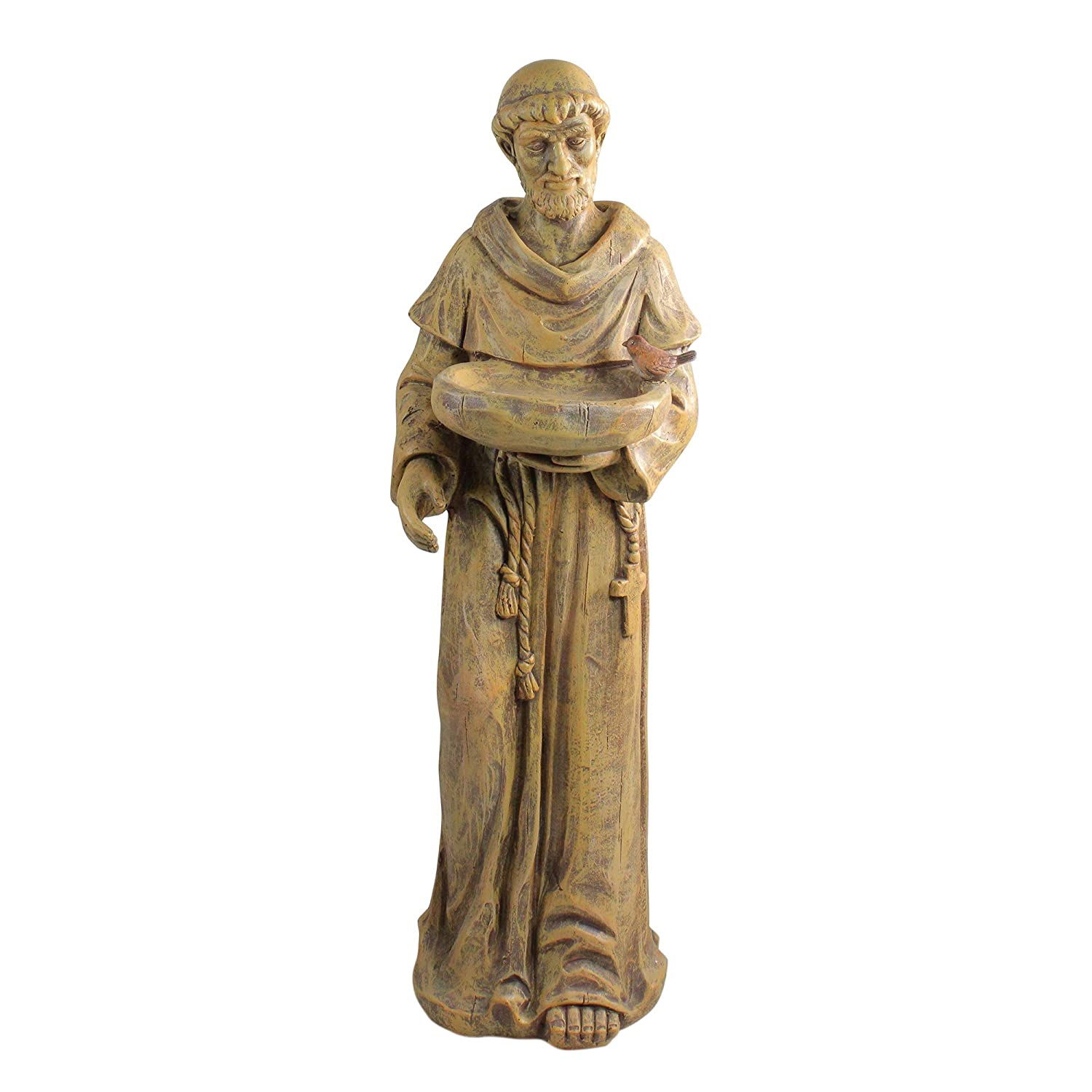 "Northlight 37"" Fallow Brown St. Francis of Assisi with Bird Outdoor Patio Garden Bird Bath"