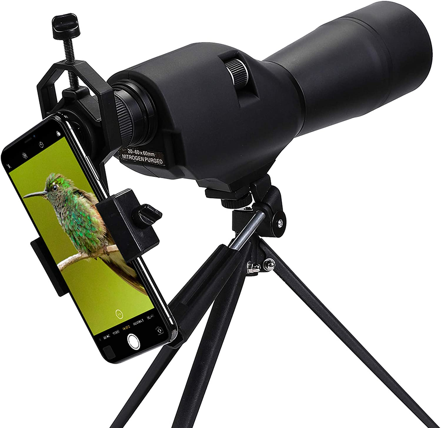 Pinty 20-60x60 Waterproof Straight Spotting Scope with Tripod, Optics Zoom 36-19m/1000m for Target Shooting Bird Watching Hunting W/Phone Holder