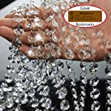 Musdoney 19.5 Feet Clear Crystal Beads Clear Chandelier Bead Lamp Chain for Wedding Party Tree Garlands Decoration, DIY Jewelry Making,and Other DIY Craft Projects