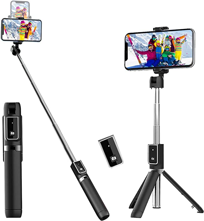 Extendable Selfie Stick with Detachable Wireless Remote and Tripod Stand