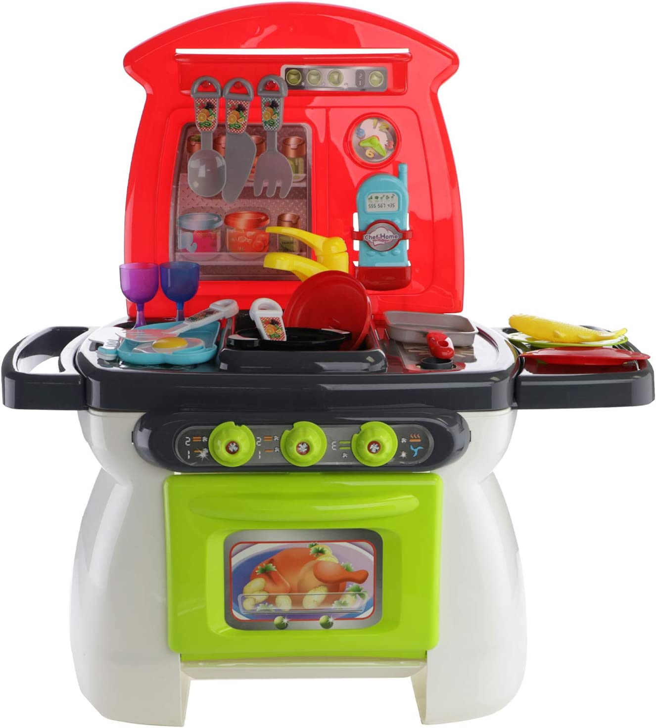 Pots Pans Play Brainy Kitchen Set for Girls /& Boys Utensils /& More This Toddler Playset is a Great Educational Toy Mini Toy Kitchen Comes with 26 Play Accessories Like Toy Food
