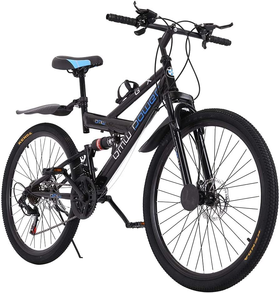 LODDD Adult Folding Mountain Bike - 26 Inch/High Carbon Steel Mountain Trail Bike Shimanos 21 Speed Gears Bicycle Full Suspension Frame Mountain Bicycle - US Stock