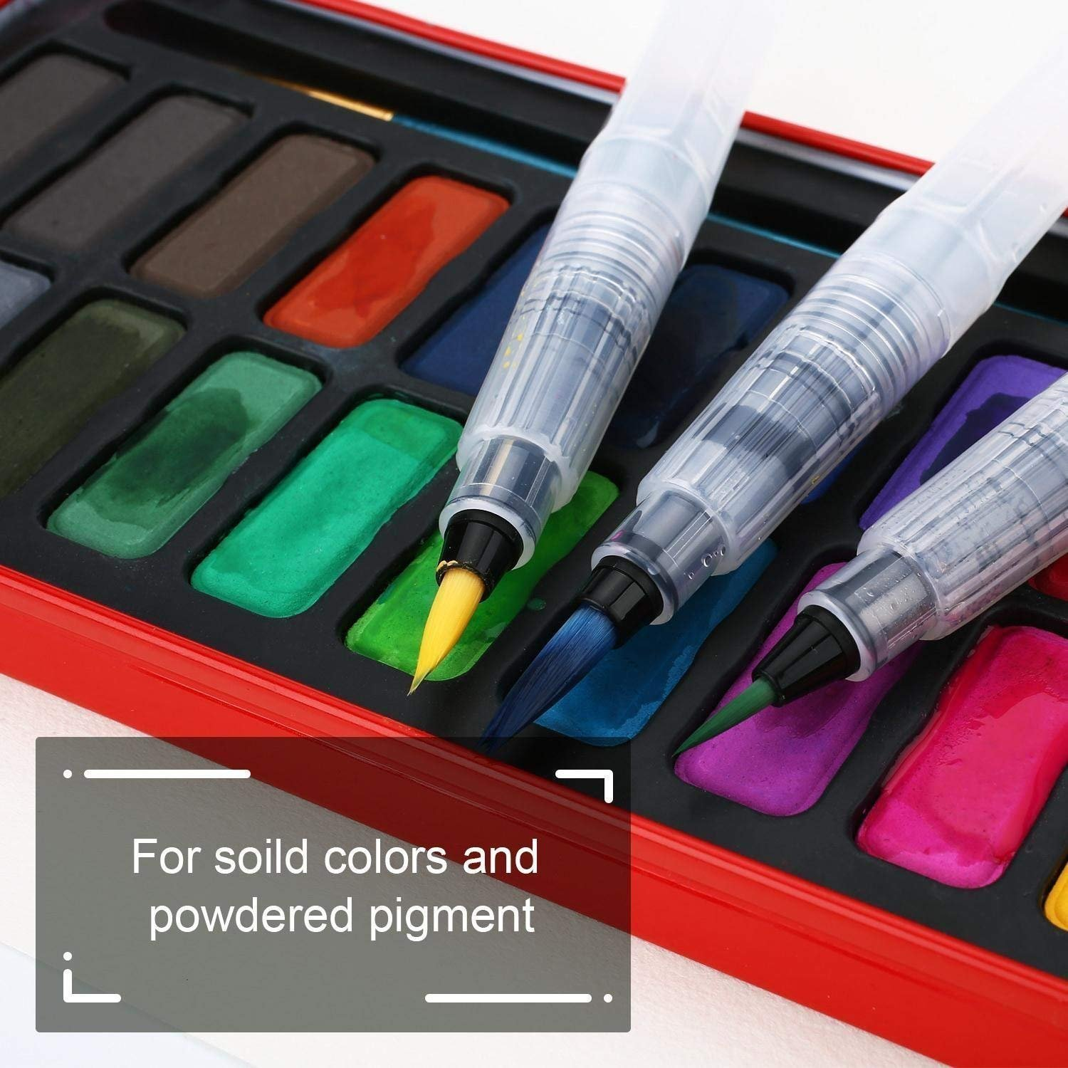 Ciaoed Water Coloring Brush Pens,Set of 6 Brush Tips and a Paint Tray Palette for Watercolor Painting,Water Soluble Pencils, Solid Colors and Powdered Pigment