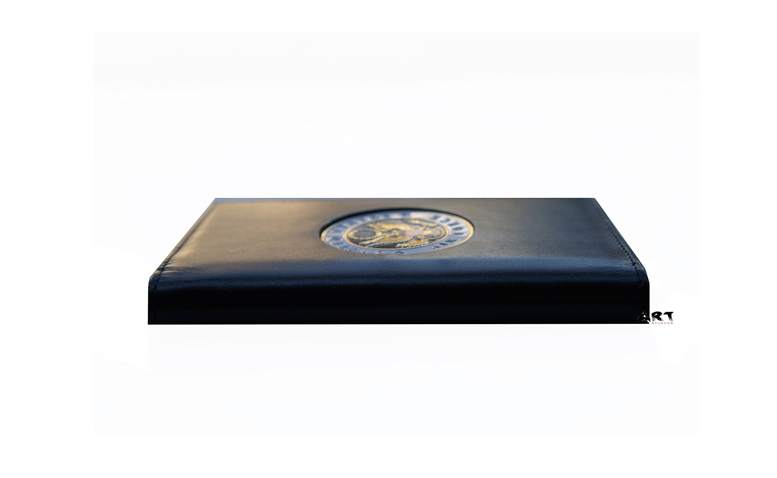 Spiral Notebook Black Padfolio Cover with Military Seal, US AIR FORCE - 3'' x 5''