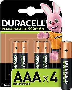 Duracell Pilas Recargables AAA 900 mAh, paquete de 4, Color Verde: Amazon.es: Electrónica