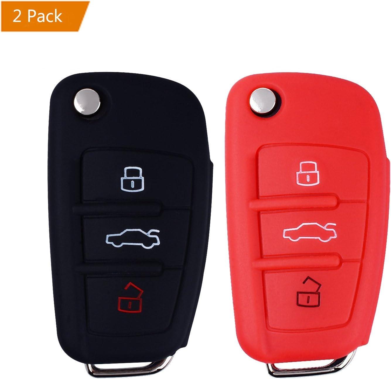 E-Mandala Funda Llave Audi Rosa Negra 3 Botones Llave Carcasa in Silicona para Coche Audi A3 S3 A4 S4 RS4 A6 S6 RS6 Q7 TT TTS R8 Cover de Llave Car Key Case