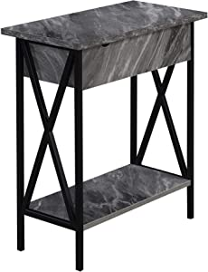 Convenience Concepts Tucson Flip Top End Table with Charging Station, Gray Marble/Black