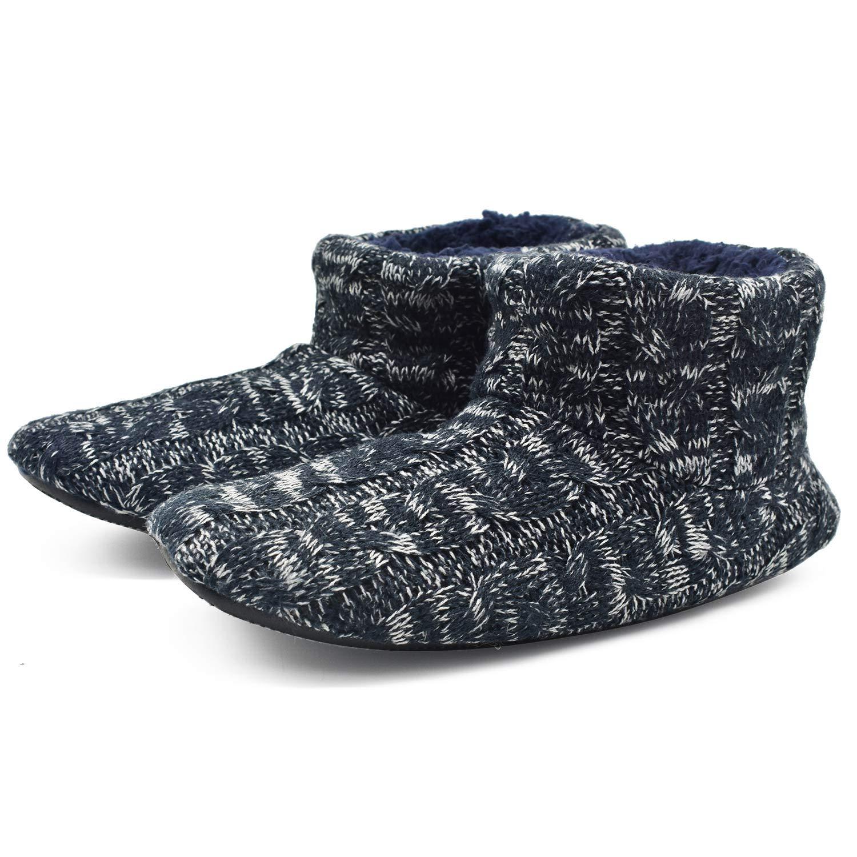 d6edc4618b87e COFACE Men's Faux Fur Lined Knit Anti-Slip Indoor Slippers Boot House  Slipper Bootie