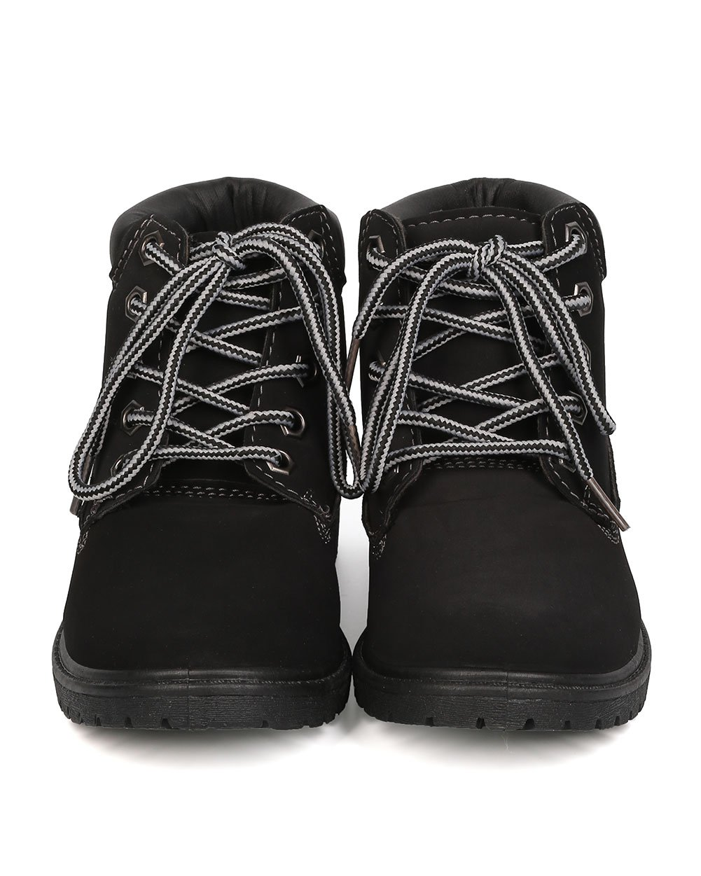 Nubuck Round Toe Lace Up Lug Sole All Weather Ankle Boot (Toddler/Little Girl/Big Girl) FA28 - Black (Size: Toddler 9) by Refresh (Image #4)