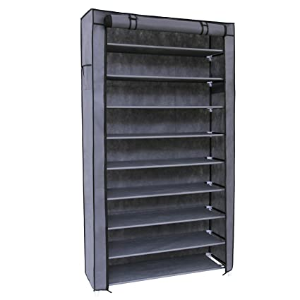 songmics 10 tiers shoe rack with dustproof cover closet shoe storage cabinet organizer grey urxj36g - Closet Shoe Rack