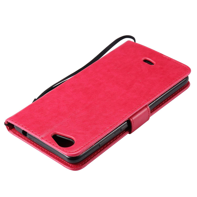 Guran® Funda de Cuero Para Wiko Pulp Fab 4G Smartphone Función de Soporte con Ranura para Tarjetas Flip Case Cover-rosa roja: Amazon.es: Electrónica