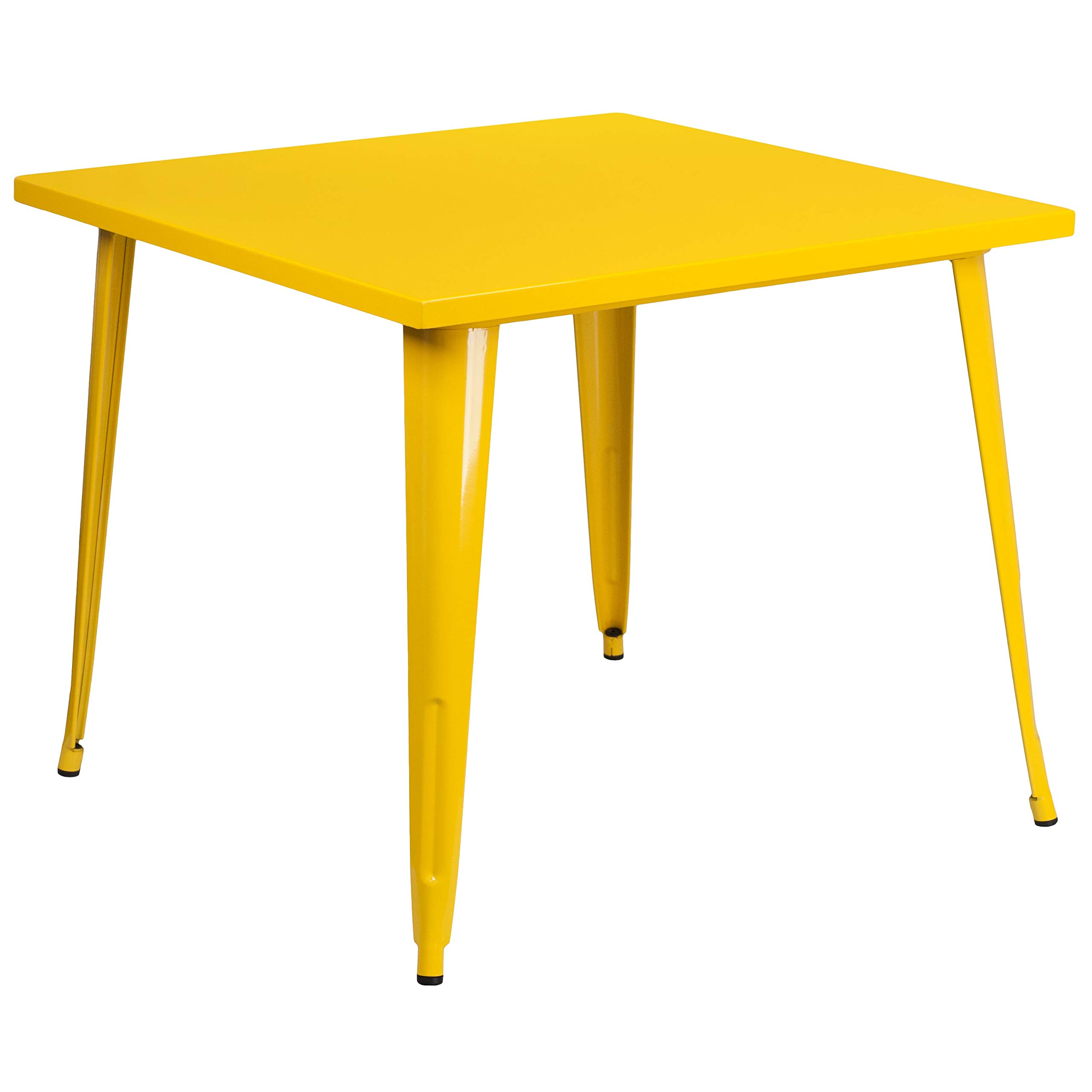 MFO 35.5'' Square Yellow Metal Indoor-Outdoor Table by My Friendly Office