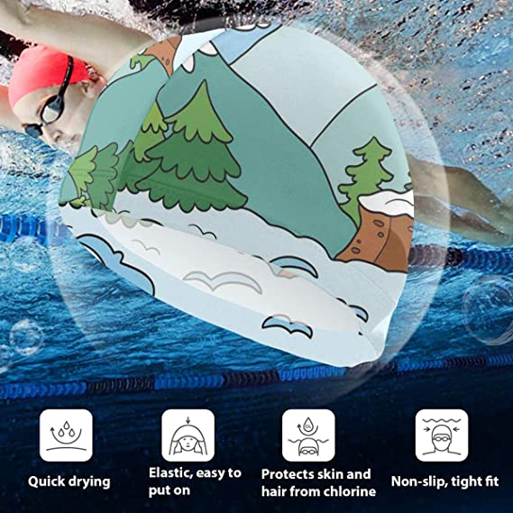 GUUi Swimming Cap Elastic Swimming Hat Diving Caps,Cartoon Winter ...