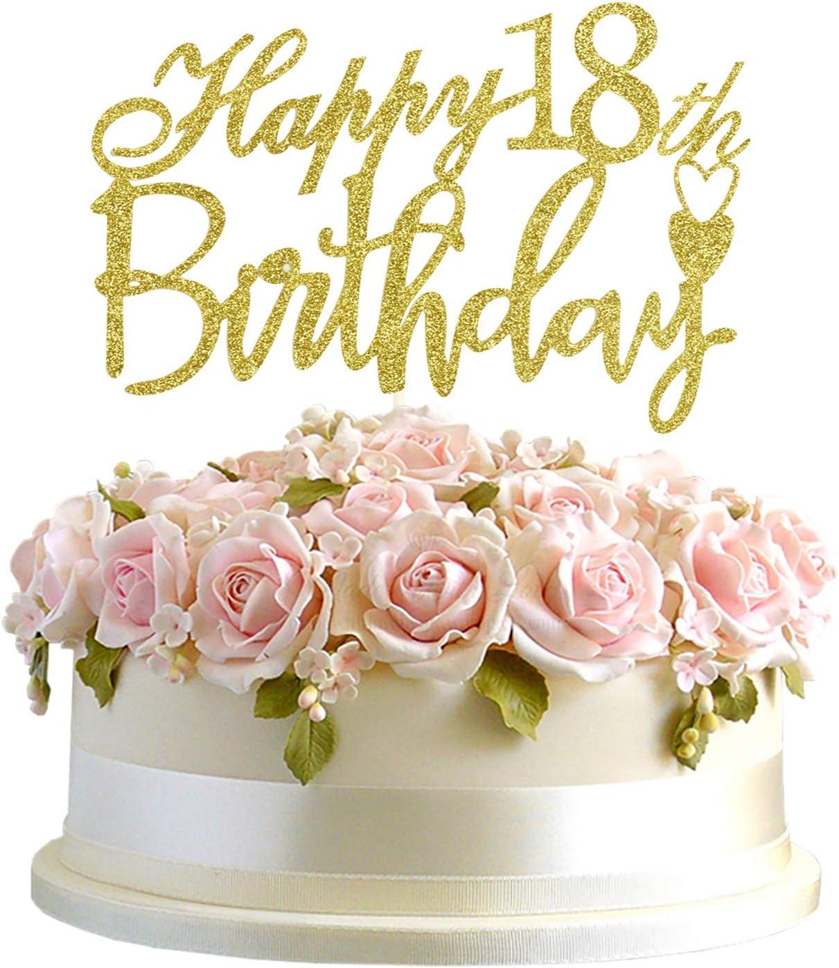 Astounding Amazon Com Junucubo 18Th Birthday Cake Topper Gold Glitter Cheers Birthday Cards Printable Nowaargucafe Filternl