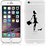 JAMMYLIZARD   Cover custodia in Silicone Trasparente con Sketch per iPhone 6 e 6s, A PASSEGGIO COL CANE