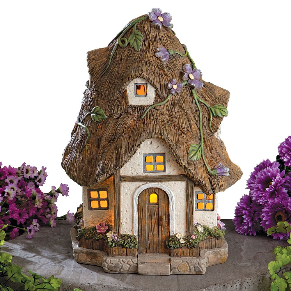 Bits and Pieces - Solar Fairy Cottage - Unique Outdoor Lawn and Garden Décor - Make Your Magical Fairy Garden House Come to Life in Your Garden product image