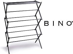 BINO 3-Tier Collapsing Foldable Laundry Drying Rack, Black
