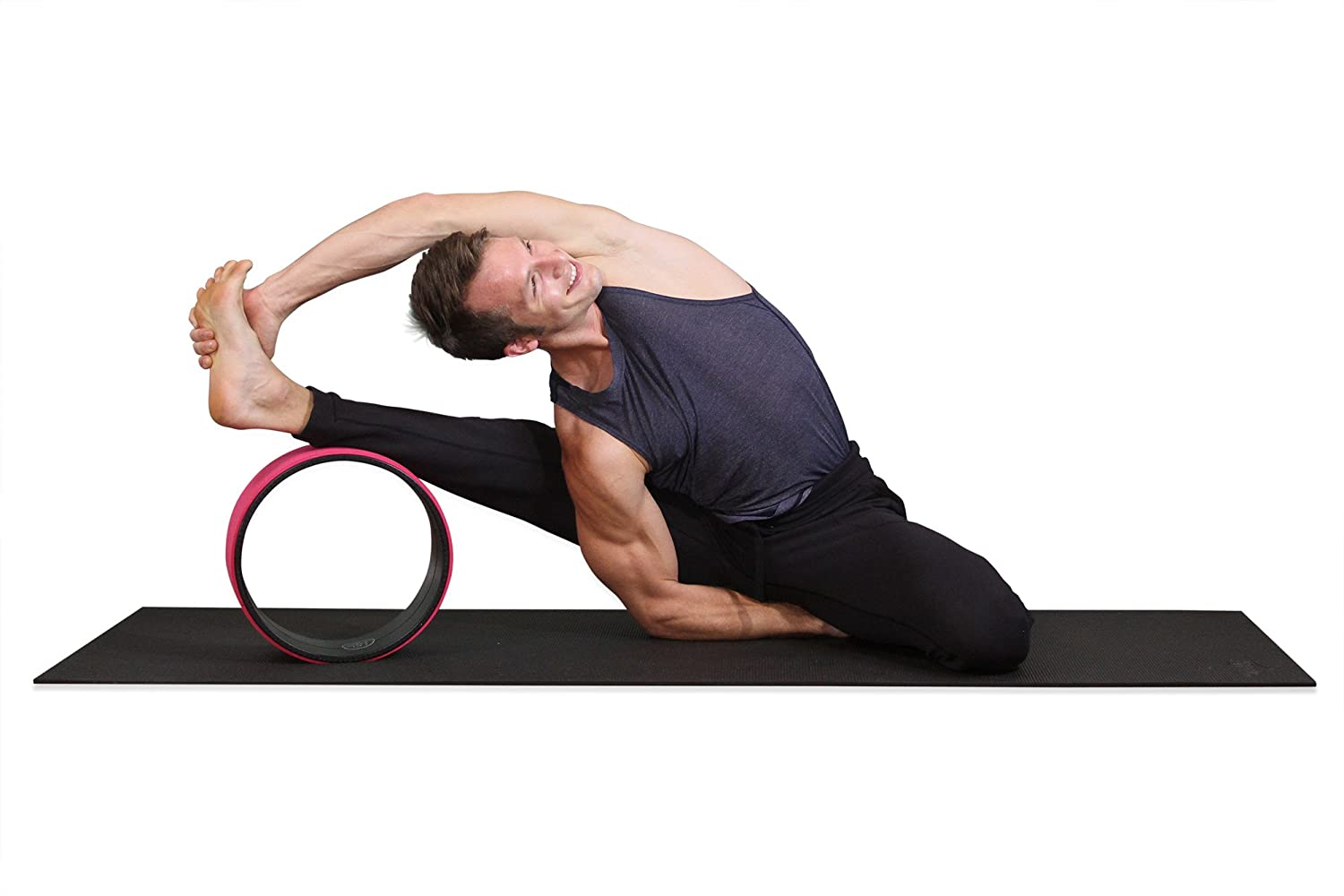 SukhaMat Yoga Wheel - NEW! Pro Series - Dharma Yoga Prop Wheel, Back Stretcher, with Printed Guide & Online Video, 12.5 x 5 Inch Basic