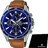 【セット】[カシオ] CASIO 腕時計 EDIFICE 100m防水 エディフィス クロノグラフ EFR-546L-2A メンズ &ROOSTER マイクロファイバークロス 15×15cm付き [並行輸入品]