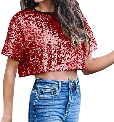 Mujer Camiseta Corto de Lentejuelas, Camiseta de Fiesta Tops Manga Corto Camisa Mujeres Hip Hop Blusa t-Shirt Rojo S: Amazon.es: Ropa y accesorios