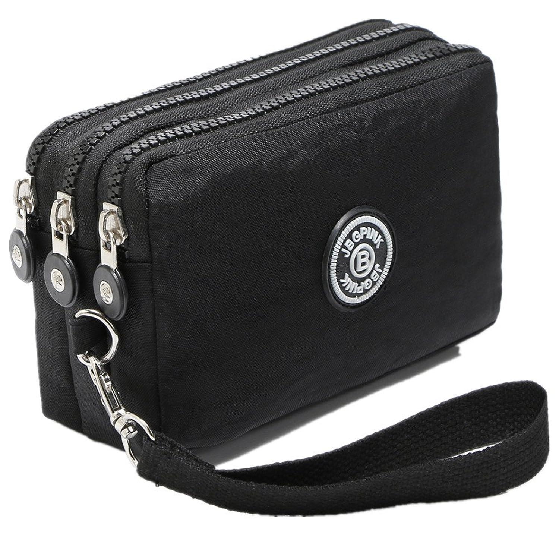 c8f9934fca8 3 Layer Zipper Nylon Wallets for Women Wristlet Bag Purse Waterproof Cell  Phone Pouch Handbag