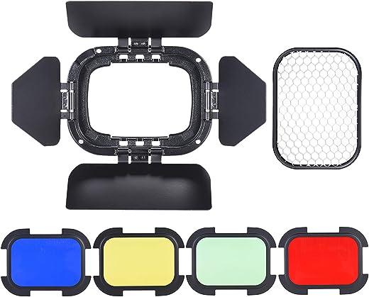 باب بارن مخصص BD-07 مع شبكة مشط عسل قابلة للإزالة و4 مرشحات لونية (أصفر، أخضر، أحمر، أزرق) لـ Godox AD200 AD200Pro Pocket Flash