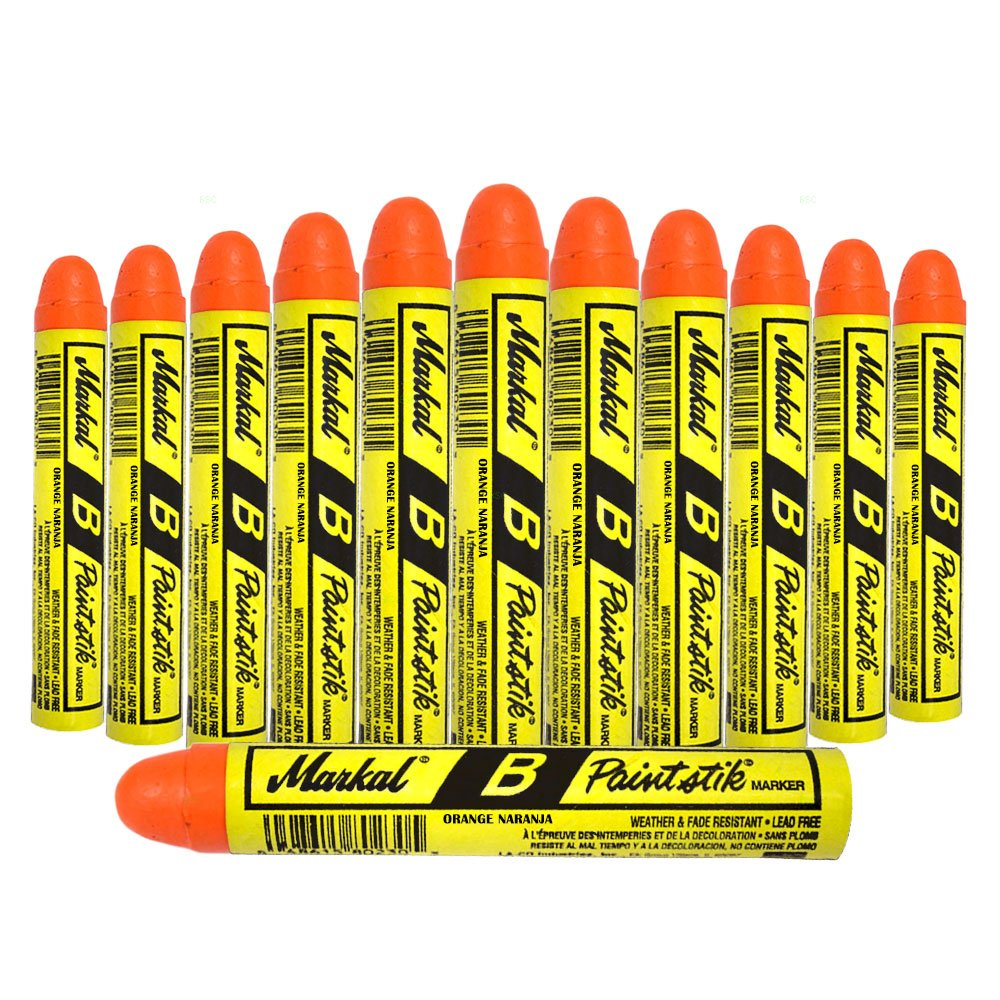 12 Pc Box Orange Markal B Paintstiks Crayon Marks Water Oil Dirt Extreme Temp Paint Stick Chalk for Auto Tire Construction Fabric Lumber