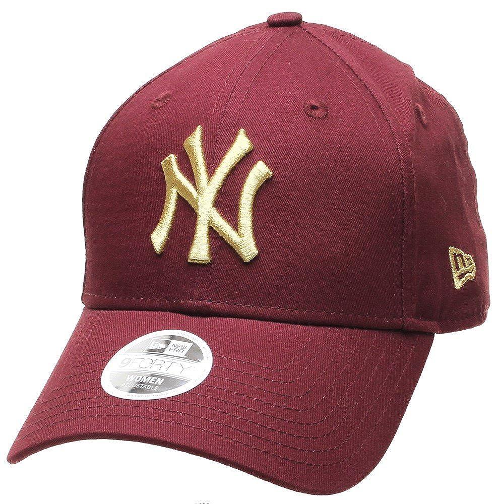 502ca6b5bac New Era MLB League Essential Womens 9FORTY Cap - NY Yankees - Maroon Gold   Amazon.co.uk  Clothing