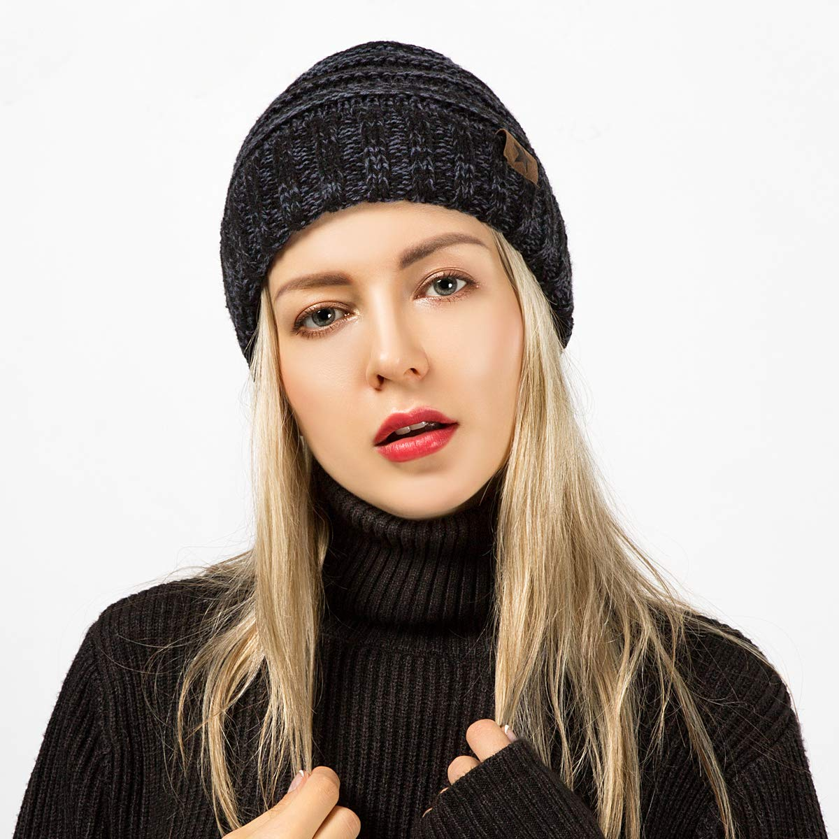 Wish Club Beanie Hat Women Warm Soft Cable Knit Thick Slouchy Caps Men Winter Unisex Beanie Skully Hats