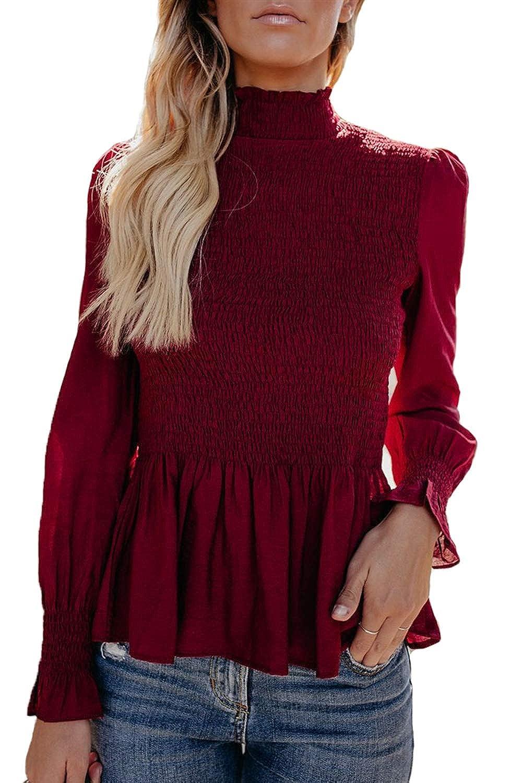 Assivia Womens Turtleneck Ruffle Blouse Long Pagoda Sleeve Shirts Tops