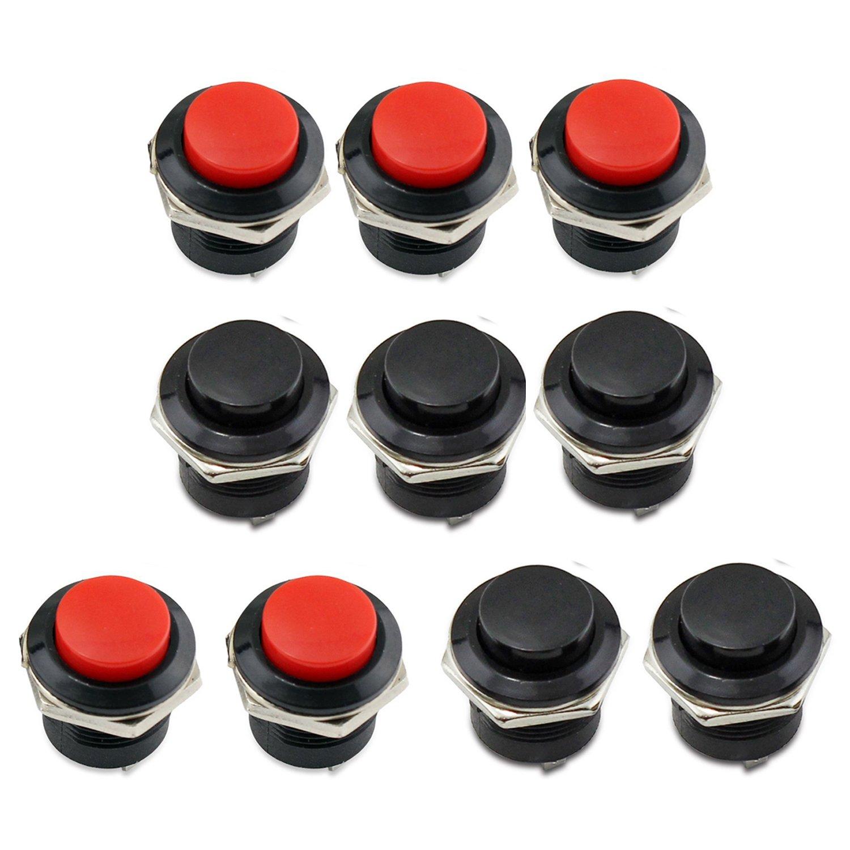 PsmGoods/® Momentan/é On Black 10 Pieces Off Push Boutons Horn Commutateur pour Voiture Auto