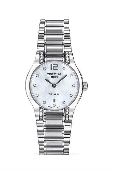 Certina - Reloj Analógico de Cuarzo para Mujer, correa de Acero inoxidable color Gris: Amazon.es: Relojes