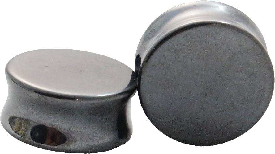 Double Flared Hematite Saddle Plugs
