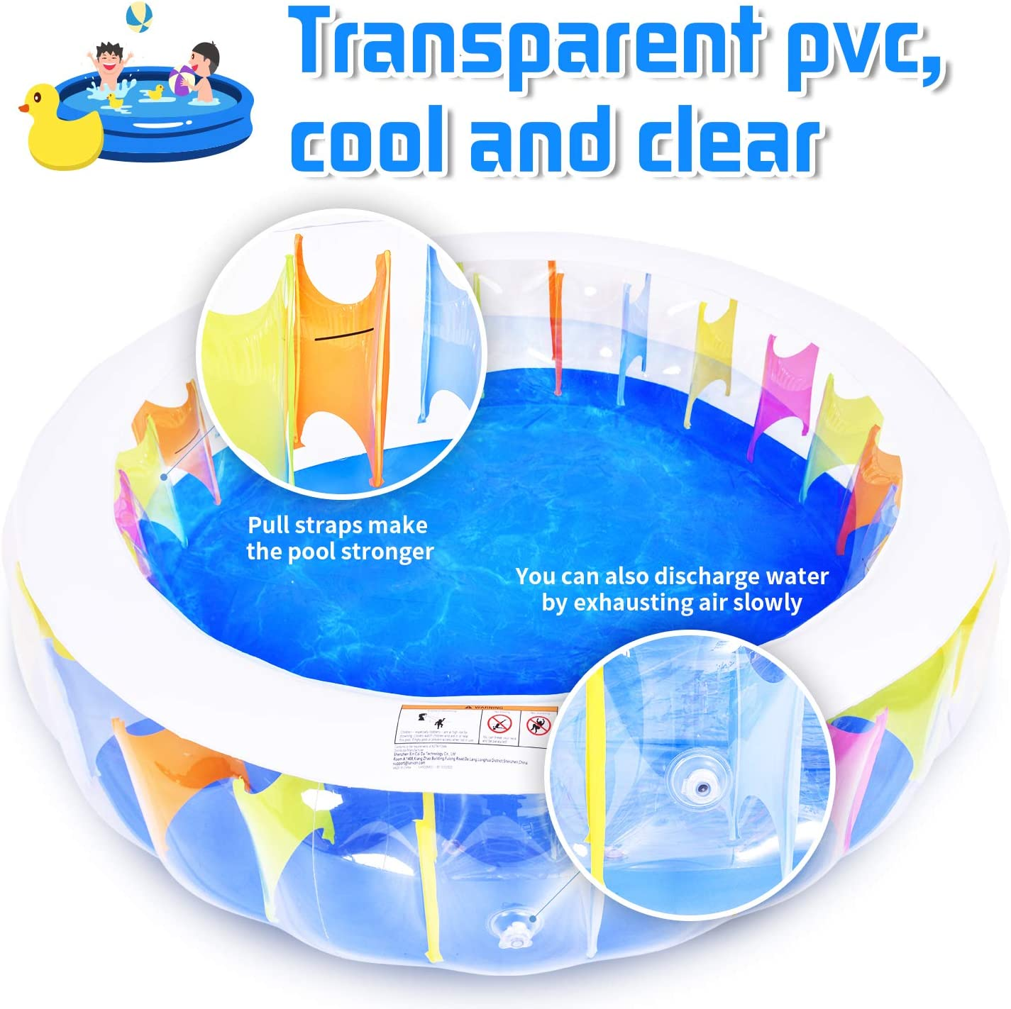 Portable Indoor /& Outdoor Round Pool,Toddler Water Game Play Center for Age 6+ Lunvon Family Inflatable Baby Kids Swimming Pool Size 75 X 20