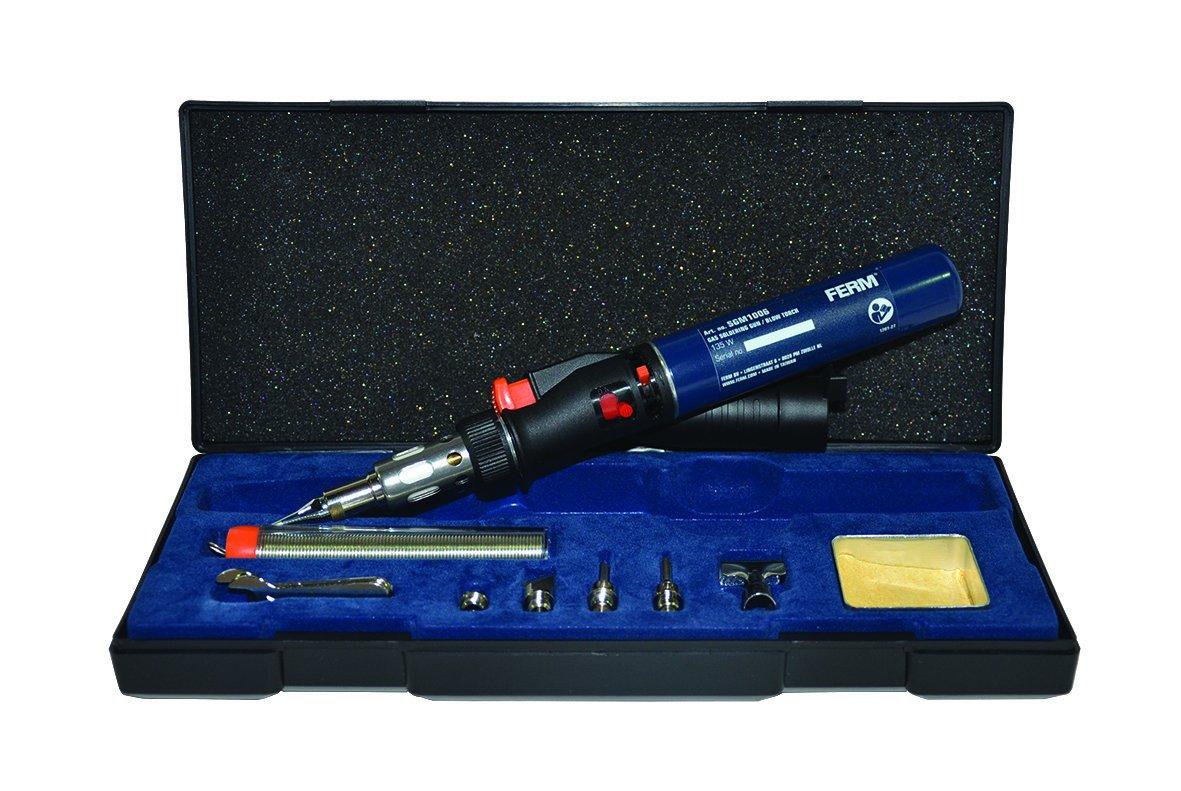 FERM Pistolet / Torche de soudure - 35 min. - Rechargeable - Fonction de la flamme - fonction de soudure - fonction ré tré cissement - Boî te de rangement SGM1006