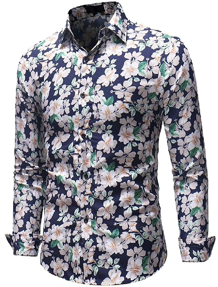 Macondoo Mens Slim Fit Stylish Floral Print Long Sleeve Button Up Shirts