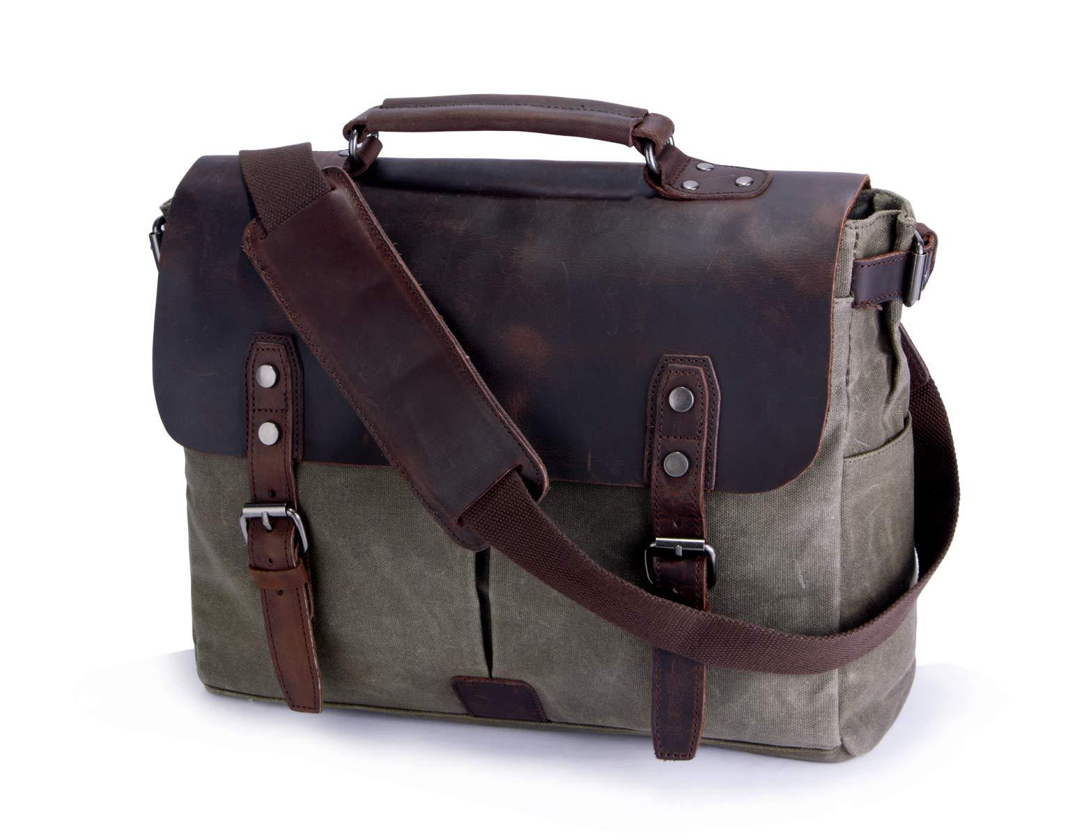 Mens Messenger Bag,Handmade Cross Body Bag Genuine Leather Laptop Briefcase Waxed Canvas Shoulder Bag with Detachable Strap,Computer Sctchel Bag Travel Work Bag for 15.6 inches Laptop