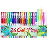 24 Colors Gel Pens, Coloring Gel Pen Art Markers for Journal Adult Coloring Books Drawing Note Taking, 40% More Ink for…