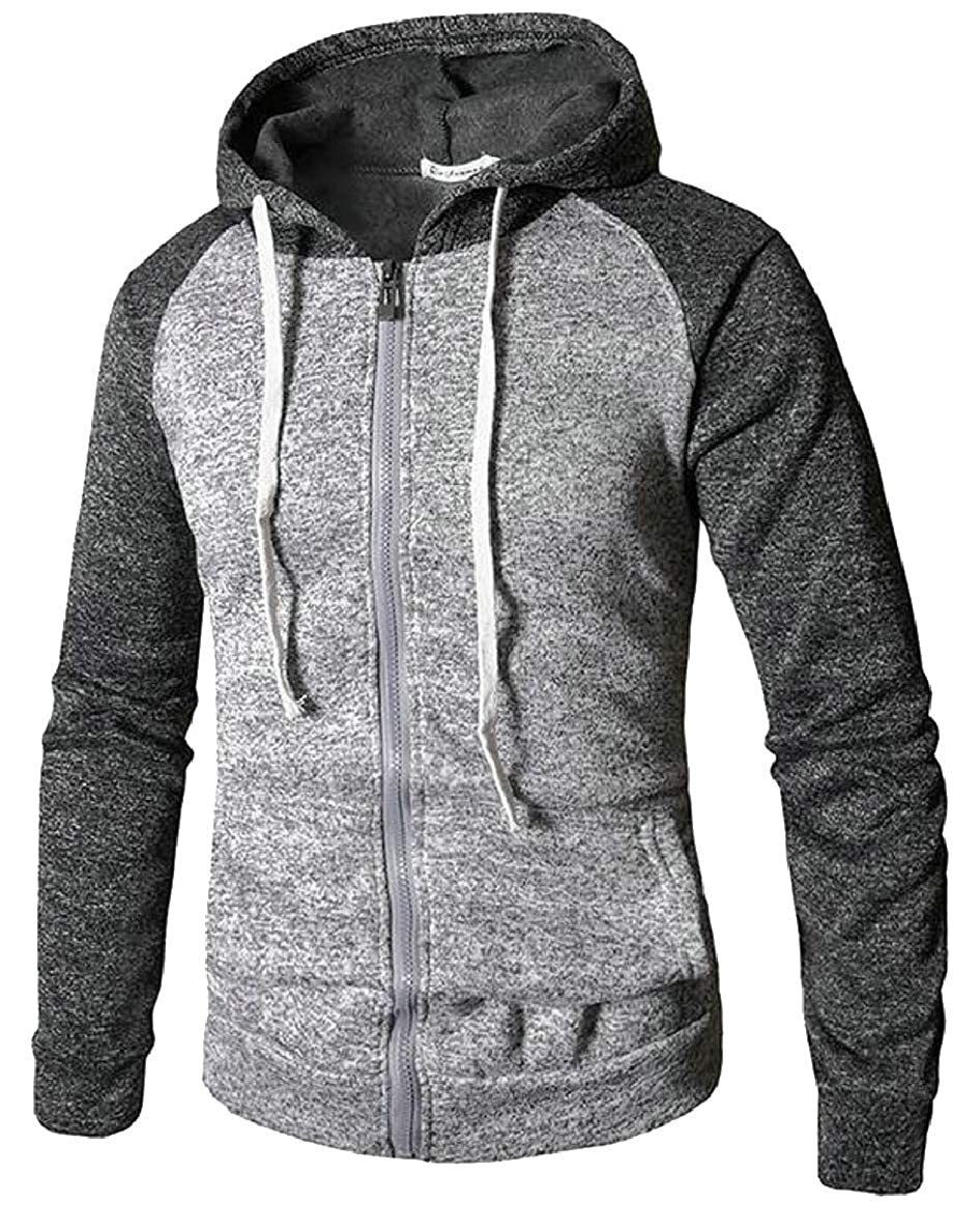 ONTBYB Mens Slim Fit Lightweight Long Sleeve Zipper Front Hooded Sweatshirt