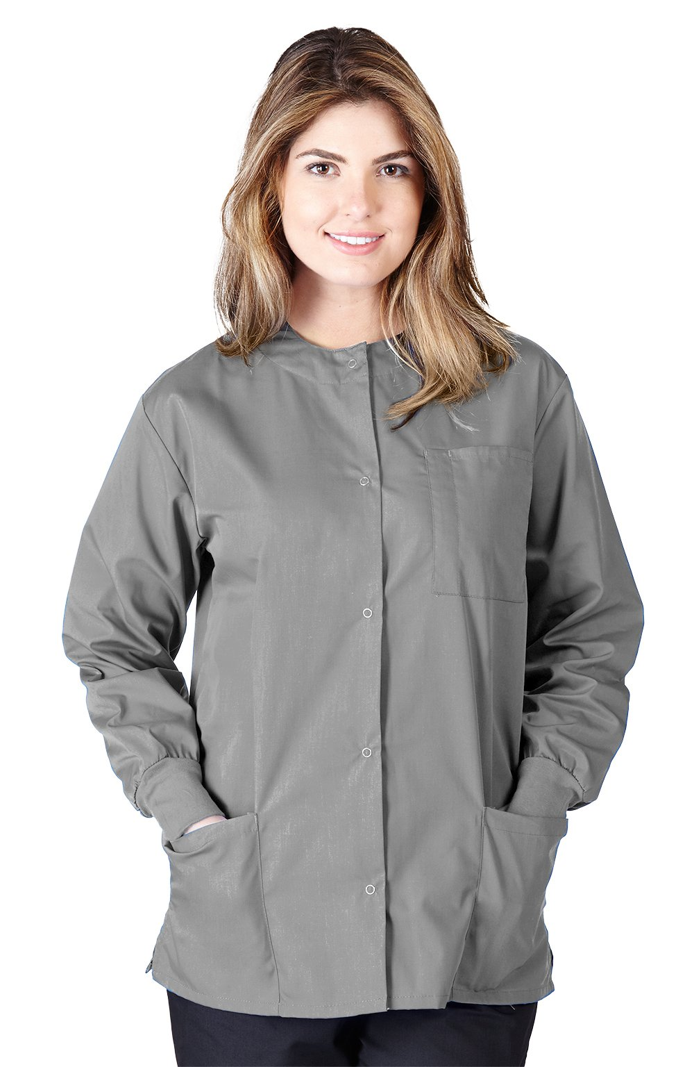Natural Uniforms Women's Warm Up Jacket (Plus Sizes Available) (Small, Grey)