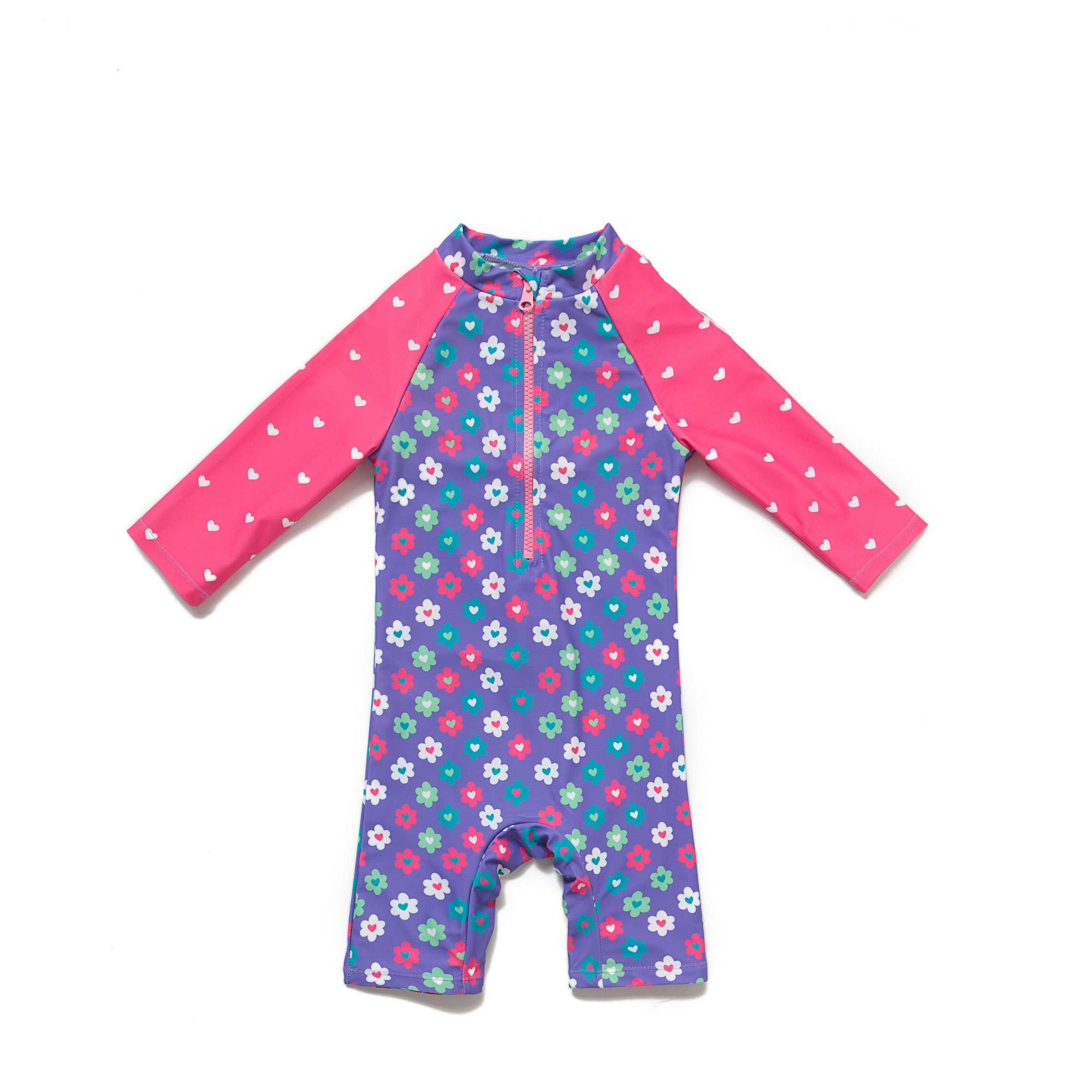Baby Kids Boys Girls One Pieces Cartoon Print Long Sleeve Rash Guard UPF 50 UV Swimsuit with Sun Hat