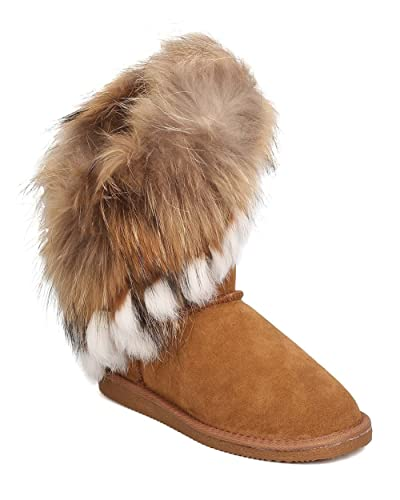 Women Genuine Suede and Fur Boot - Winter Cozy Casual - Authentic Fox and Rabbit Fur Flat Bootie - GD19 by