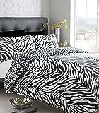 SINGLE SIZE - BLACK & WHITE ZEBRA PRINT WITH LEOPARD REVERSE - DUVET QUILT COVER BED SET by HOMEMAKER BEDDING