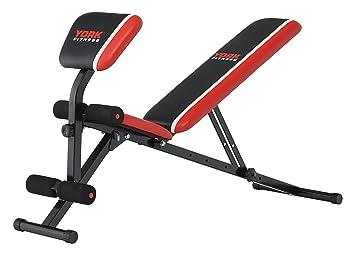 York Fitness Unisex Warrior 2-in-1 mancuerna y AB Banco Plus Curl, Rojo/Negro/Blanco: Amazon.es: Deportes y aire libre