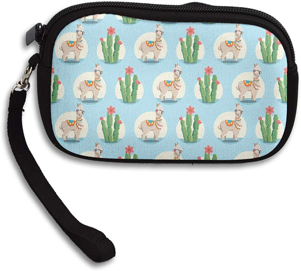 Alpaca And Cactus Plants Coin Purse Stylish Change Purse,Make Up Bag,Cellphone Bag With Handle Purses For Women